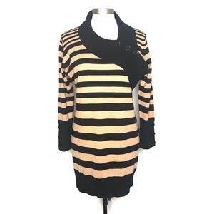 Say What Black Brown Striped Sweater Dress A090656